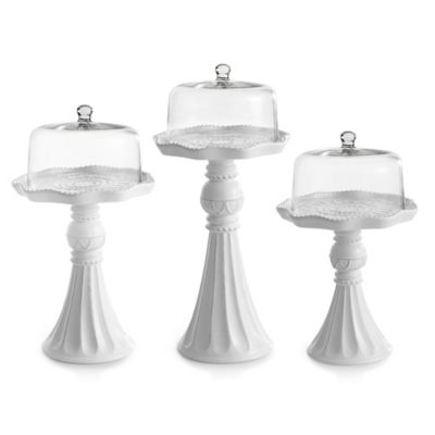 American Atelier Embossed Cake Pedestals with Glass Domes in White (Set of 3)