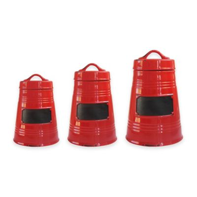 American Atelier 3-Piece Canister Set in Red
