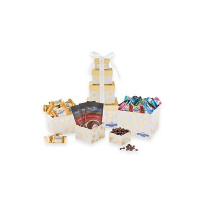 Ghirardelli® Gold Polka Dot 4-Tier Gift Tower