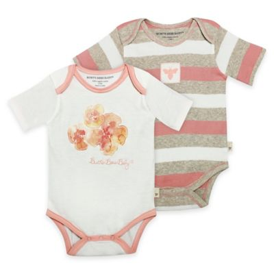 Burt's Bees Baby® Coral Floral Size 6M 2-Pack Bodysuits in Coral