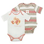 Burt's Bees Baby® Coral Floral Size 9M 2-Pack Bodysuits in Coral