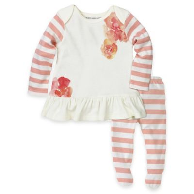Burt's Bees Baby® Size 3M 2-Piece Poppy Organic Cotton Striped Tunic and Footed Pant Set