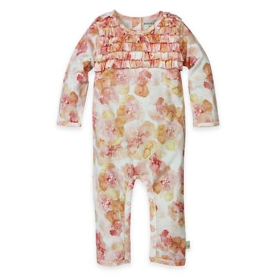 Burt's Bees Baby® Newborn Organic Cotton Floral Ruffle Coverall in Multi