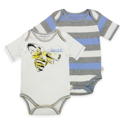 Burt's Bees Baby® Size 3M 2-Pack Bee/Stripe Organic Cotton Bodysuits in Yellow/Blue