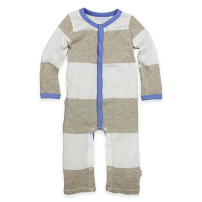 Burt's Bees Baby® Newborn Organic Cotton Stripe Coverall in Beige/White