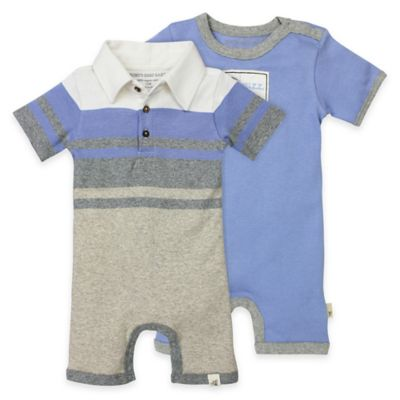 Burt's Bees Baby® Size 6M 2-Pack Organic Cotton Stripe/Solid Shortalls in Blue/Grey