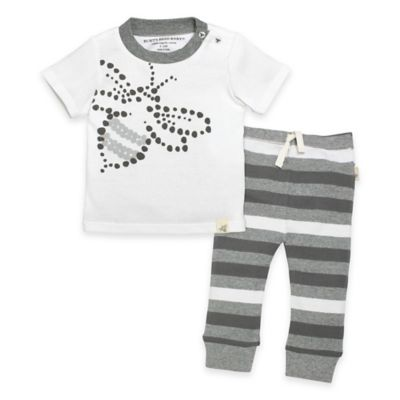 Burt's Bees Baby® Size Newborn 2-Piece Organic Cotton Bee Tee and Pant Set in Grey/White