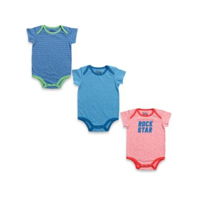 "Kapital K™ Size 0-3M 3-Pack ""Rock Star"" Bodysuits in Blue/Red"