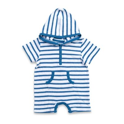 Kapital K™ Size 0-3M Striped Terry Hooded Romper in Blue/White
