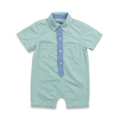"""Kel & Co. Size 0-3M Striped Button Down Romper with """"Tie"""""""
