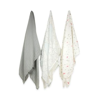 Weegoamigo 3-Pack For the Birds Silky Soft Rayon made from Bamboo Muslin Swaddles