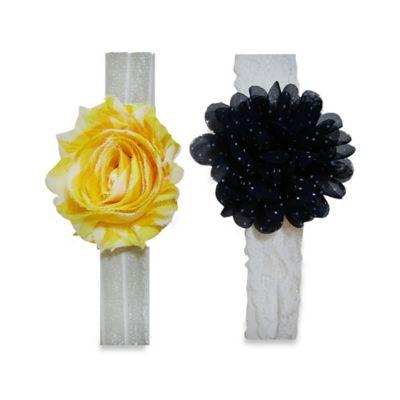 So'Dorable 2-Piece Flower Headwrap in Navy/Yellow