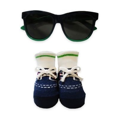 So'Dorable 2-Piece Sunglasses and Bootie Set in Green/Navy