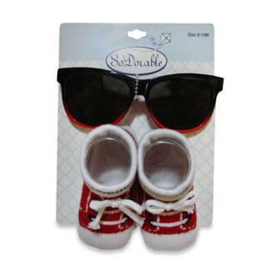So'Dorable 2-Piece Sneaker Sunglasses and Bootie Set in Red