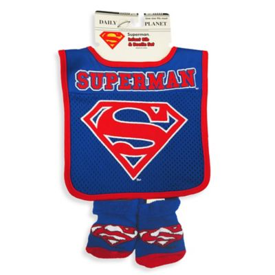 DC Comics™ Superman Bib And Bootie Set in Blue/Red