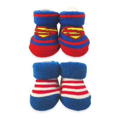 DC Comics™ Superman and Striped Booties in Blue/Red (Set of 2)
