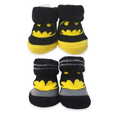DC Comics™ Size 0-12 M Batman Booties in Black/Yellow/Grey (Set of 2)