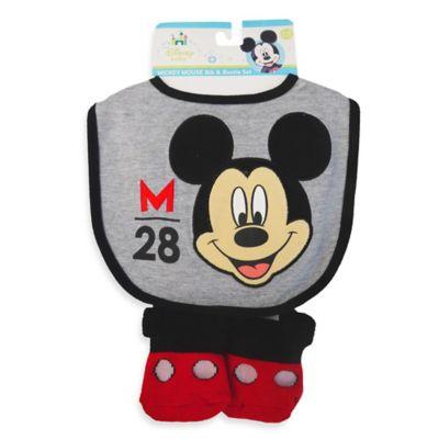 Disney® Mickey Bib and Bootie Set in Grey