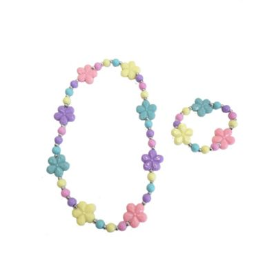 Bead and Flower Necklace and Bracelet Set