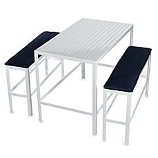 White Metal Table and Bench