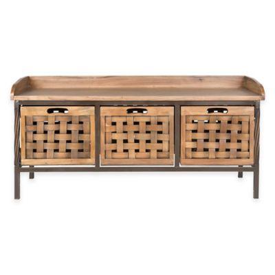Safavieh Isaac 3-Drawer Storage Bench in Pewter