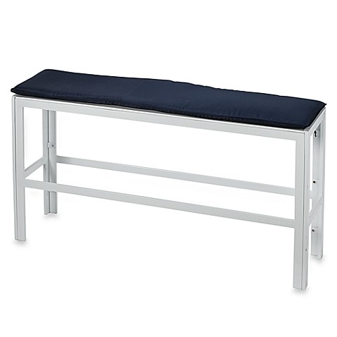 White Metal Bench with Cushion