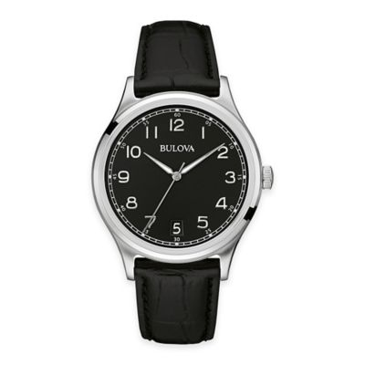 Bulova Men's 40mm Black Dial Watch in Stainless Steel with Black Leather Strap