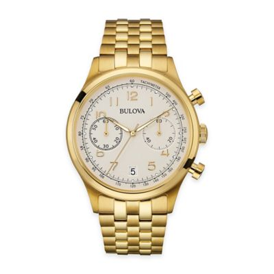 Bulova Men's 43mm Dress Watch in Goldtone Stainless Steel with Chronograph and Arabic Numerals
