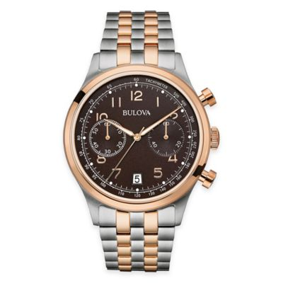 Bulova Men's 43mm Dress Watch in Twotone Stainless Steel with Chronograph and Arabic Numerals