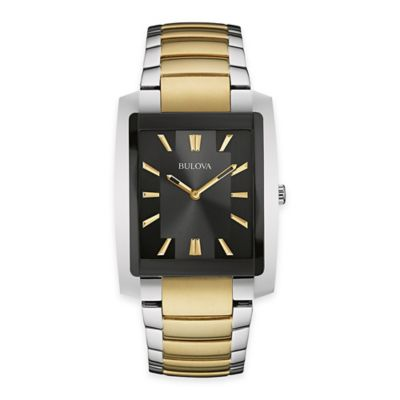 Bulova Men's 35mm Rectangular Dress Watch in Two-Tone Stainless Steel