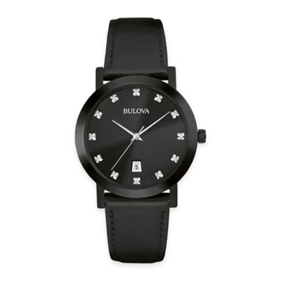Bulova Men's 38mm Diamond Dress Watch in Black Stainless Steel with Black Leather Strap