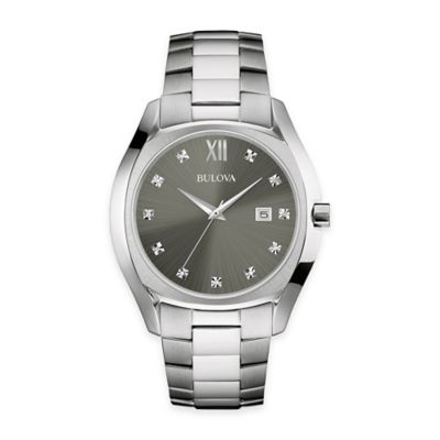 Bulova Men's 42.5mm Diamond Dial Bracelet Watch in Stainless Steel