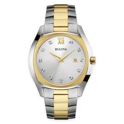 Bulova Men's 42.5mm Diamond Dress Watch in Two Tone Stainless Steel