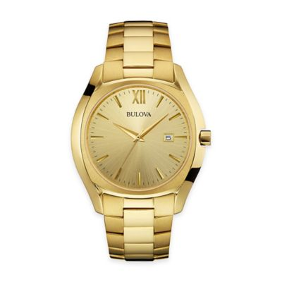 Bulova Men's 42.5mm Dress Watch in Gold-Tone Stainless Steel with Champagne Dial
