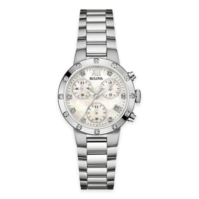 Bulova Ladies' 30mm Diamond Accented Dress Watch in Stainless Steel with Mother of Pearl Dial