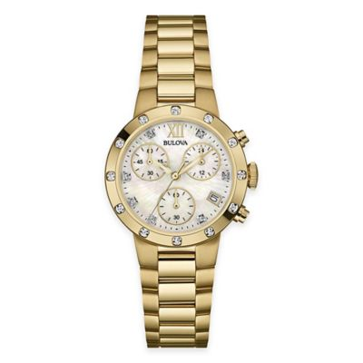 Bulova Ladies' 30mm Diamond Dress Watch in Gold-Tone Stainless Steel with Mother of Pearl Dial