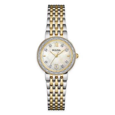 Bulova Ladies' 26mm Diamond Dress Watch in Two-Tone Stainless Steel with Mother of Pearl Dial