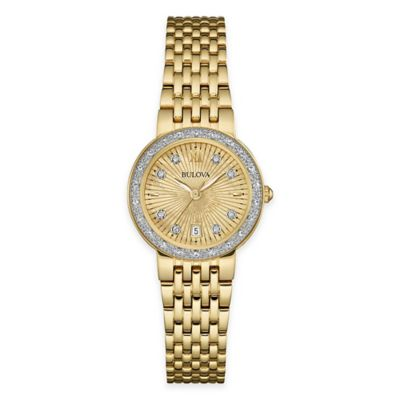 Bulova Ladies' 26mm Diamond Dress Watch in Gold-Tone Stainless Steel with Mother of Pearl Dial