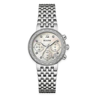 Bulova Ladies' 30mm Diamond Encrusted Dress Watch in Stainless Steel with Mother of Pearl Dial