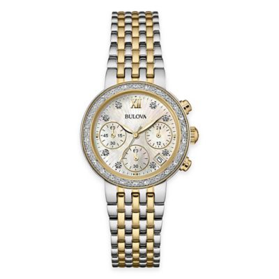 Bulova Ladies' 30mm Diamond Dress Watch in Two-Tone Stainless Steel with Mother of Pearl Dial