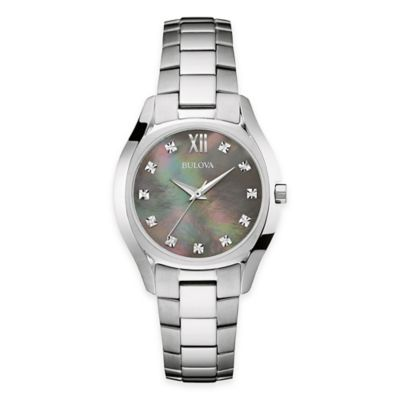 Bulova Ladies' 32.5mm Diamond and Black Mother of Pearl Bracelet Watch in Stainless Steel