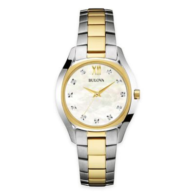 Bulova Ladies' 32.5mm Diamond and Mother of Pearl Bracelet Watch in Two-Tone Stainless Steel