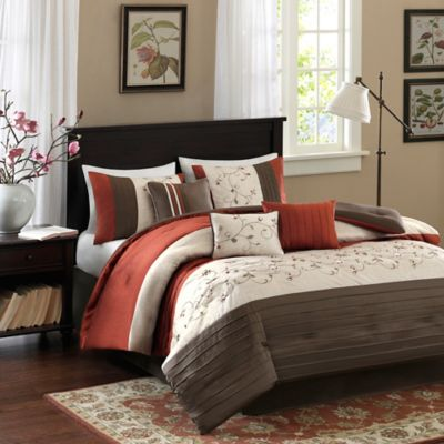 Madison Park Serene 7-Piece California King Comforter Set in Spice