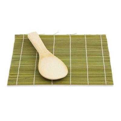 Helen Chen's Asian Kitchen Bamboo Sushi Mat and Paddle Set