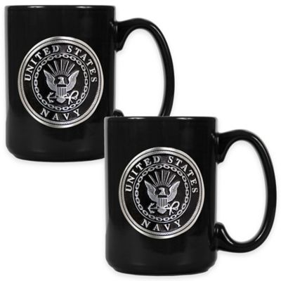 United States Navy Coffee Mugs in Black (Set of 2)