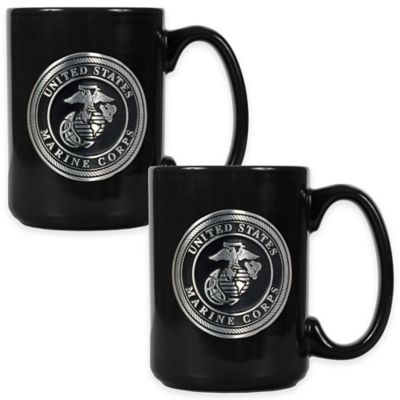 United States Marine Corps Coffee Mugs in Black (Set of 2)