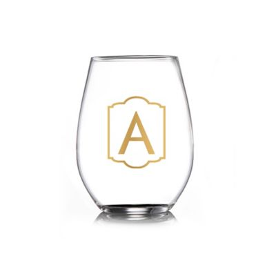 """Style Setter Monogrammed """"A"""" Stemless Goblets in Clear/Gold (Set of 4)"""