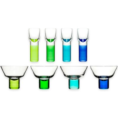 Sagaform® Club Martini and Shot Glasses in Blue/Green (Set of 8)