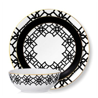 B by Brandie™ Amalfi 4-Piece Place Setting in Black/White