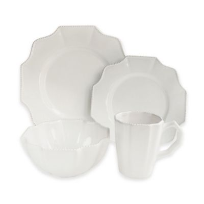 American Atelier Scallop White 16-Piece Dinnerware Set